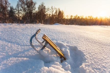 winter landscape with sledge and  sun rays  Stock Photo - 16217079