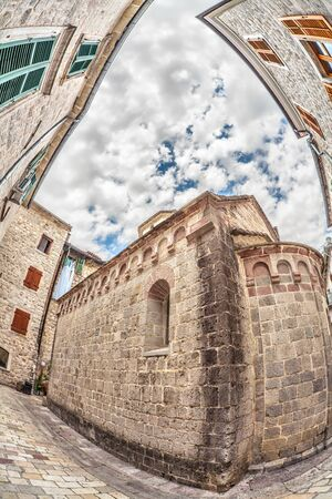 Fish-eye lens look of the old city on sky background. Kotor. Montenegro Stock Photo - 16217093