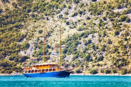 Pleasure craft in a retro style in the sea. Montenegro Stock Photo - 16217114