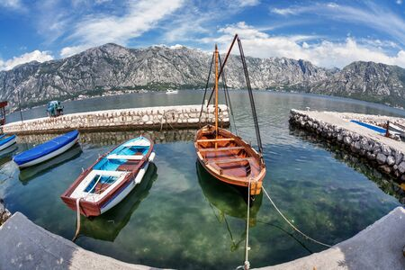 A small bay with boats. Kotor. Montenegro photo