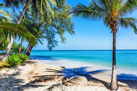 Beautiful tropical beach with  sea view, clean water   blue sky  Nature background Stock Photo - 16451808