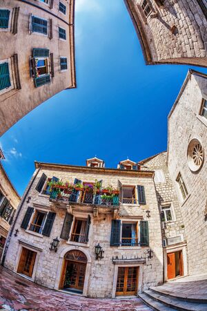 Fish-eye lens look of the old city on sky background. Kotor. Montenegro Stock Photo - 16451823