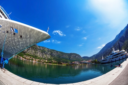cruise ship in the port of Kotor. Montenegro Stock Photo - 16451787