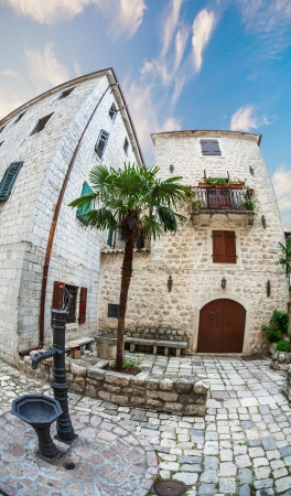 Fish-eye lens look of the old city on sky background. Kotor. Montenegro Stock Photo - 16451830
