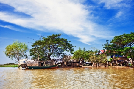 The village on the water. Tonle sap lake. Cambodia Stock Photo - 16451796