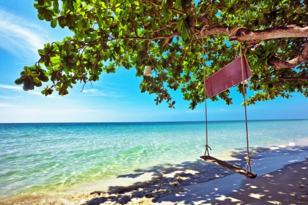 Beautiful tropical beach with  sea view, clean water & blue sky. Nature background Stock Photo - 16451829