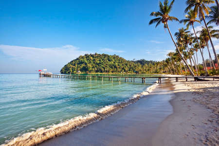 Beautiful tropical beach with  sea view, clean water & blue sky. Nature background Stock Photo - 16451790