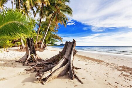 Beautiful tropical beach with  sea view, clean water & blue sky. Nature background Stock Photo - 16451825