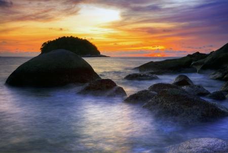 Tropical beach at beautiful sunset. Nature background Stock Photo - 16451785