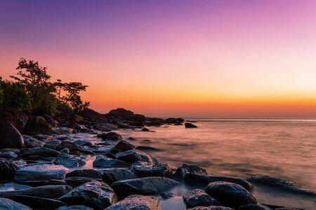 Tropical beach at beautiful sunset. Nature background Stock Photo - 16451783