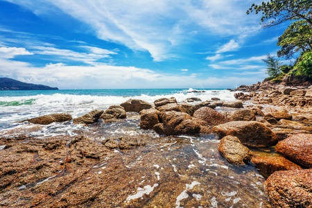 Beautiful tropical beach with  sea view, clean water   blue sky  Nature background Stock Photo - 16584729