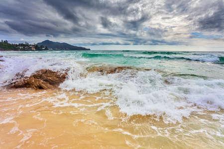 tropical beach under gloomy sky  Thailand Stock Photo - 16584720