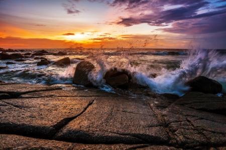 Tropical beach at beautiful sunset  Nature background Stock Photo - 16584725