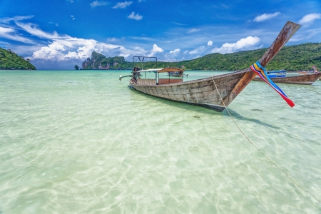 Boats in the tropical sea under blue sky  Thailand  Stock Photo