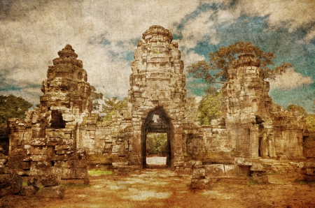 Ancient buddhist khmer temple in Angkor Wat complex in grunge and retro style, Cambodia Stock Photo - 16856092