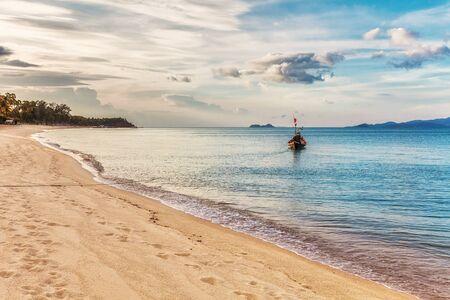 tropical beach under gloomy sky. Thailand Stock Photo - 16856059