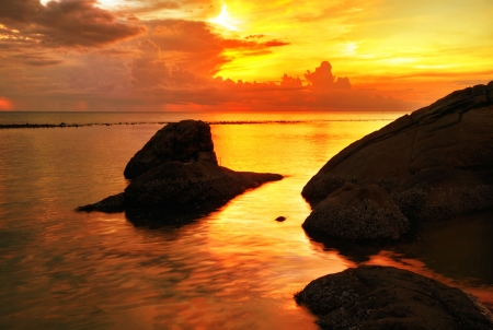 Tropical colorful sunset at the tropical beach. Thailand  Stock Photo - 16856052
