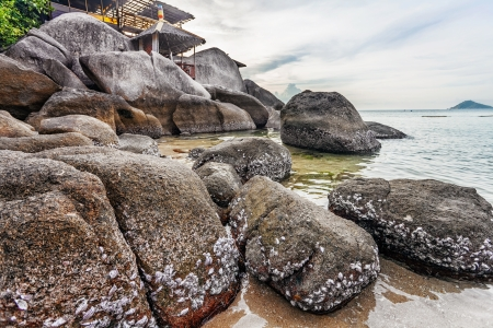 tropical beach under gloomy sky. Thailand Stock Photo - 16856091