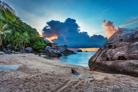 Tropical beach at beautiful sunset. Nature background  Stock Photo - 16856073