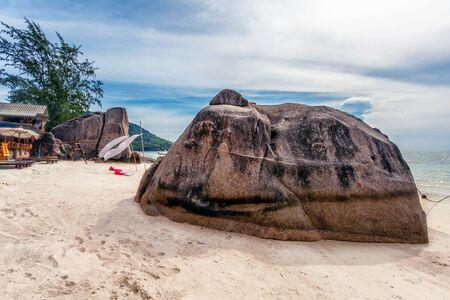tropical beach under gloomy sky. Thailand Stock Photo - 16856060