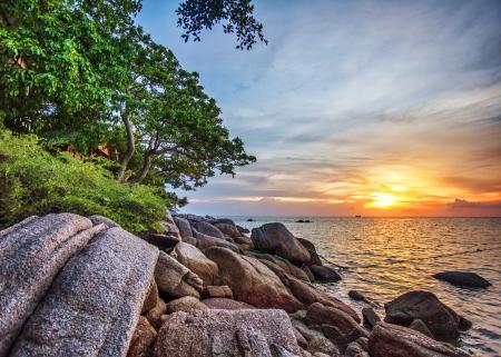 Tropical beach at beautiful sunset. Nature background Stock Photo - 16856061