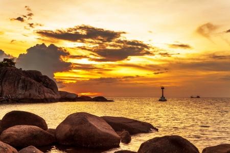 Tropical beach at beautiful sunset. Nature background Stock Photo - 16856053