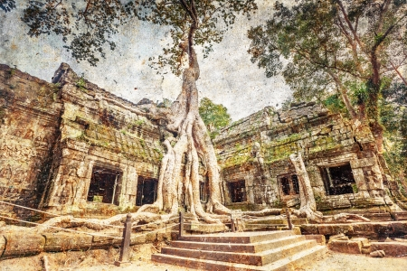Classical picture of Ta Prohm Temple in grunge and retro style, Angkor, Cambodia  photo