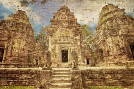 Ancient buddhist khmer temple in Angkor Wat complex in grunge and retro style, Cambodia Stock Photo - 17016719