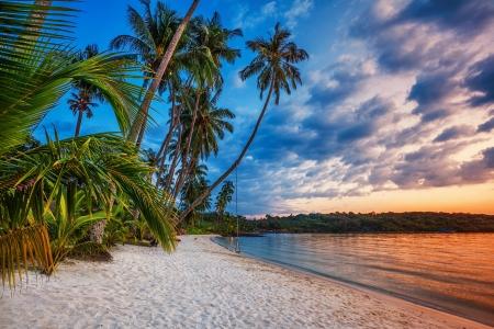 Tropical beach at beautiful sunset  Nature background  Stock Photo