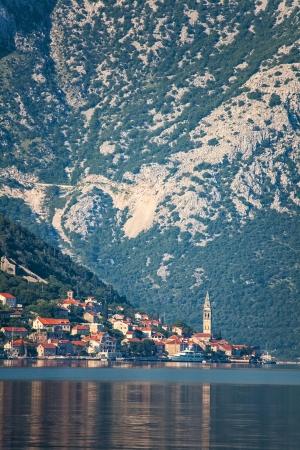 Evening in sea town on mountains background  Montenegro Stock Photo - 17013515