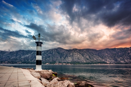 Sunset on the sea with the  foggy mountains  Montenegro Stock Photo - 17013501