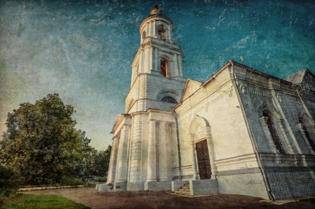 Old russian church in grunge and retro style photo