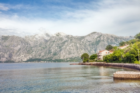 sea and mountains in bad rainy weather  Montenegro Stock Photo - 17013509