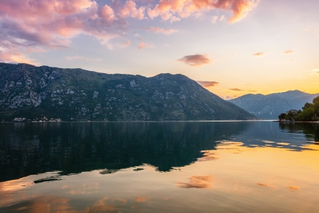 Sunset on the sea with the а foggy mountains  Montenegro Stock Photo - 17013516