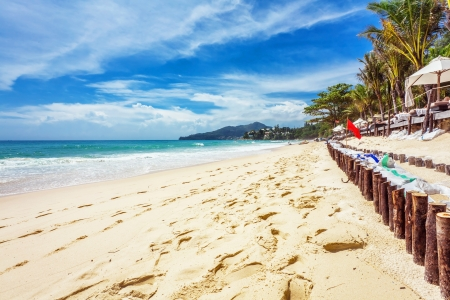 Beautiful tropical beach with  sea view, clean water  blue sky. Nature background Stock Photo - 17124158