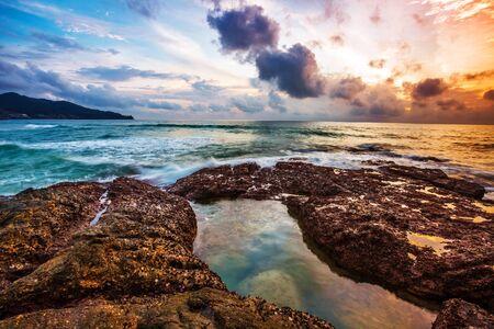 Tropical beach at beautiful sunset. Nature background Stock Photo - 17124206