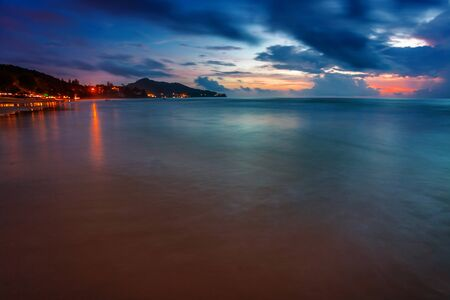 Tropical beach at beautiful sunset. Nature background  Stock Photo - 17124132