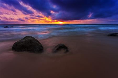 Tropical beach at beautiful sunset. Nature background Stock Photo - 17124131