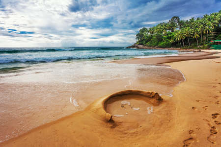 tropical beach under gloomy sky  Thailand Stock Photo - 17124207