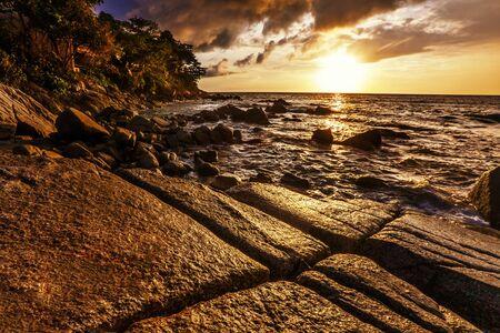 Tropical beach at beautiful sunset  Nature background Stock Photo - 17124212