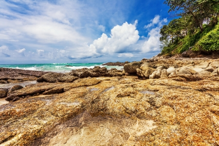 Beautiful tropical beach with  sea view, clean water   blue sky  Nature background Stock Photo - 17124213