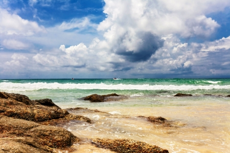 Beautiful tropical beach with  sea view, clean water   blue sky  Nature background Stock Photo - 17124192
