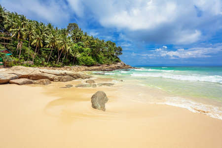 Beautiful tropical beach with  sea view, clean water   blue sky  Nature background Stock Photo - 17124142