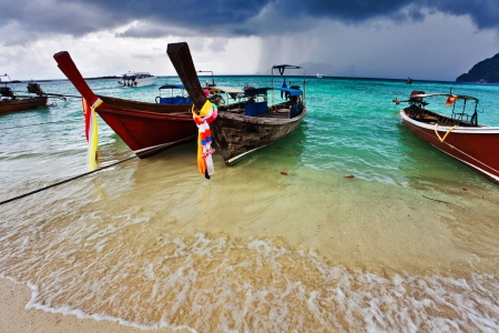 Boats in the tropical sea  Phi Phi island  Thailand  photo