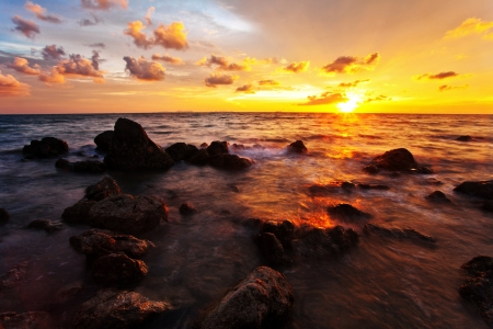 Tropical beach at beautiful sunset  Nature background Stock Photo - 17124141