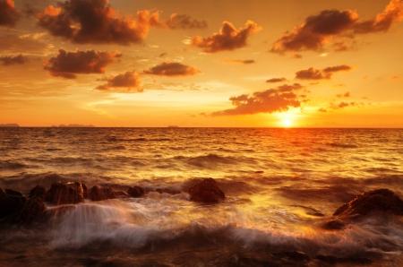Tropical beach at beautiful sunset  Nature background Stock Photo - 17124137