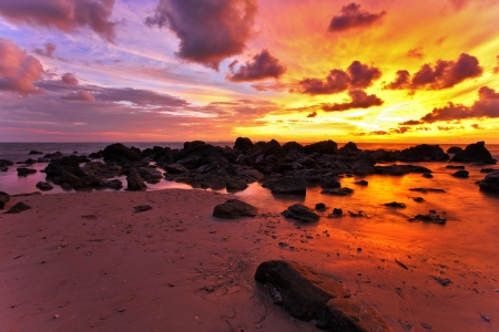 Tropical beach at sunset  Nature background  Stock Photo - 17124134