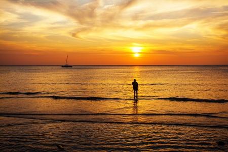 Tropical beach at beautiful sunset  Nature background Stock Photo - 17195869