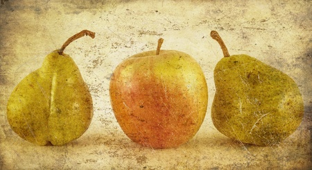 Fresh apple and pears close-up in grunge and retro style Stock Photo - 17703196