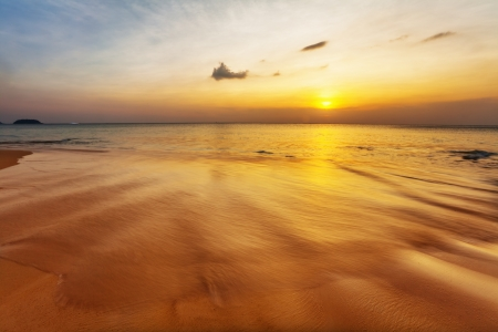 Tropical beach at beautiful sunset. Nature background Stock Photo - 17703201